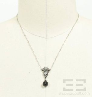 Judith Jack Sterling Silver Marcasite Onyx Necklace New