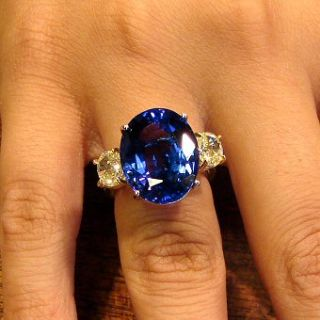 19 50 Ct Tanzanite AAA Ladies Fancy Yellow Diamond Plat Ring