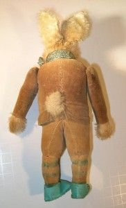 RARE Steiff Jack Rabbit Standing 1920s. 9 Tall. Jacket, Striped Socks