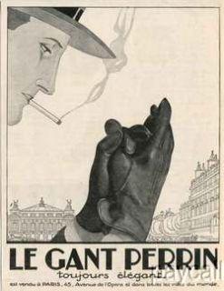 1923 Art Deco Ad Print Le Gant Perrin Gloves Artist Hemjic