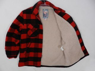 Plaid Jacket Red Black Hunting Style Made in USA Mens Size L