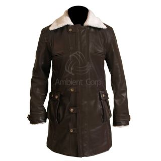 New Bane Jacket Genuine Cow Hide Leather Brown Trench Coat Dark Knight