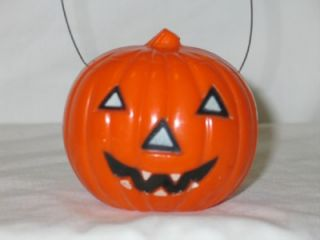 Vintage Union Plastic Halloween Jack O Lantern Light w Bail T20