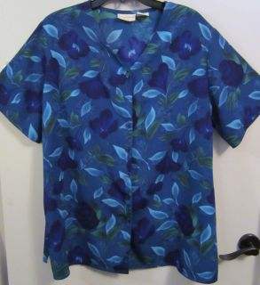 Jaclyn Smith Blue Floral Tunic Top Blouse Size 20W