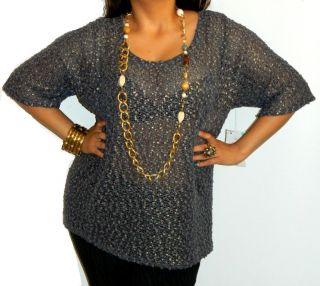 Jaclyn Smith Goth Womans Popcorn Crochet Sparkle See Through Career