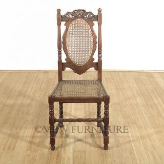 Antique English Solid Oak Jacobean Rattan High Back Side Chair c1920