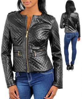 CROPPED, LEATHER LOOK, PUFFED SLEEVE, ASYMMETRICAL, MOTORCYCLE JACKET