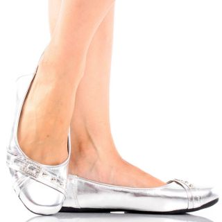 Metallic Shiny Stud Rhinestone Buckle Womens Ballet Flats Shoes 9