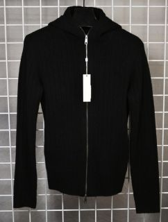 Lindeberg Mauritz Heavy Rib Knit Sweater Lambs Wool Zip Front $285