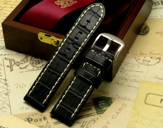 24mm Black Genuine Leather Hand Stitched Watch Band Croco for Panerai