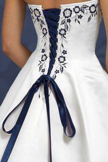 Jade Navy Strapless Corset Halter Wedding Dress Gown 22 White   Brand