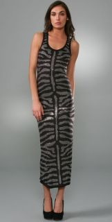 Torn by Ronny Kobo Ronny Long Dress with Crystal Zebra Stripes