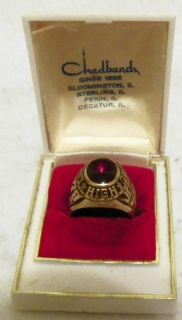 Mens 10K Gold LaSalle Peru High School Class Ring 1978 in Box