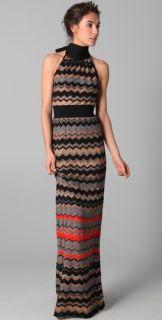 M Missoni Zigzag Metallic Stripe Maxi Dress