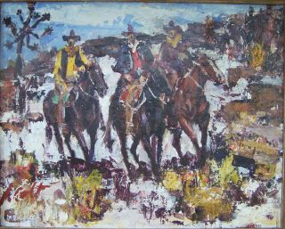 JAMES L. COLT   Western Impressionist Oil Painting of Cowboys on