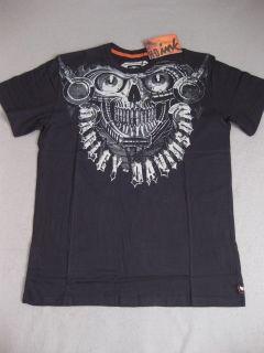 Harley Davidson Skull SS Black Shirt Tee Motorcyle New Short Sleeve