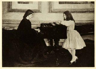 1911 Print James Abbott McNeill Whistler Art Mother Daughter Piano Oil