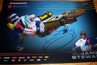 James Bubba Stewart 7 Signed Suzuki Supercross Poster