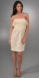 Shoshanna Zigzag Strapless Ruffle Dress
