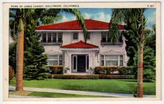 Linen Postcard Home of James Cagney in Hollywood CA