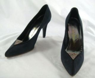 Laurent Black Satin High Heel Crystal Accent Womens Shoes 6N