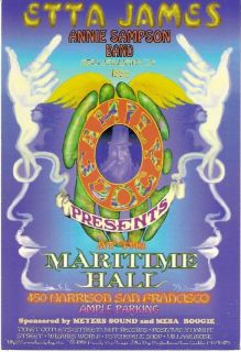 Maritime Hall Concert Handbill Etta James Lee Conklin Art Near Mint