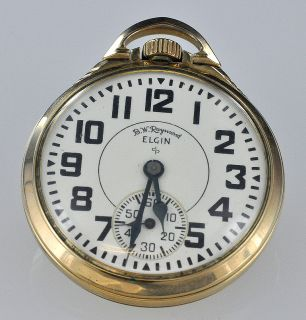 Raymond 21 Jewel Elgin Open Face Pocket Watch C 1948