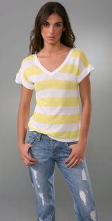 Splendid White Rugby Stripe T Shirt