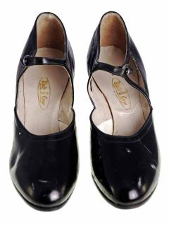 Vintage Black Mary Jane Style Heels Patent Leather Shoes 1920 EU37 US