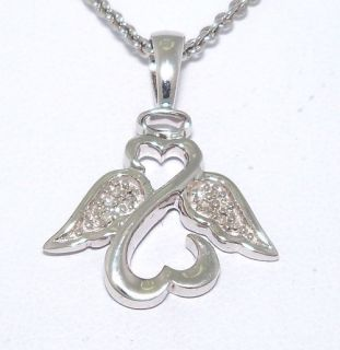 Jane Seymour Diamond Open Heart Angel Pendant Necklace 18 Sterling
