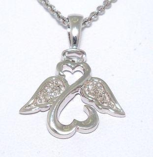 Jane Seymour Diamond Open Heart Angel Pendant Necklace 18 Sterling