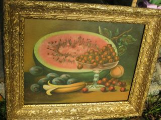 James Lee Watermellon Fruit Lithograph Print Antique Gold Wood Gesso