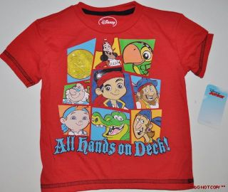 New Disney Junior Jake and The Neverland Pirate T Shirt Toddler Size