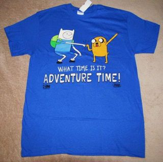 Adventure Time w Jake and Finn Blue Adult Mens Tee T Shirt Sz XL