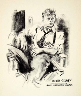 1951 Print Mickey Rooney James Montgomery Flagg Actor Famous Portrait