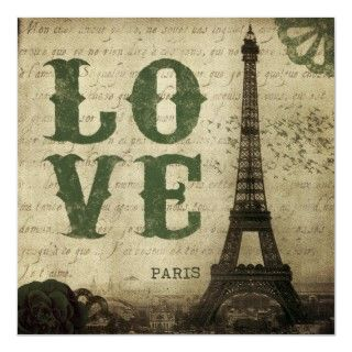 Vintage Eiffel Tower image in Paris, France. An old French love letter