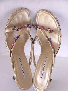 Donald Pliner Sandals Mules Jasmin Gold Flowers 9 5 M