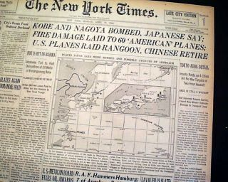 1942 DOOLITTLE RAID James Jimmy JAPAN Bombers Attack 1st World War II