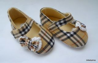 Baby Girl Brown Tartan Mary Jane Bow Shoes New 0 6M