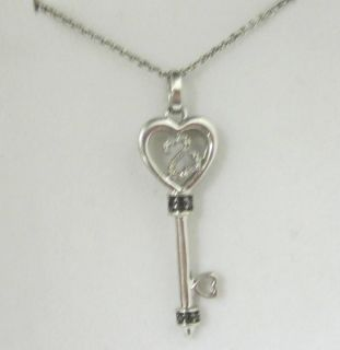 JANE SEYMOUR Sterling Open Hearts Collection Diamond Key Necklace 1