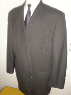 Tom James Dark Gray Check Light Crisp Wool Suit 52R Flat Pants Custom