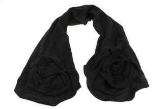 MAGASCHONI New Black Cashmere Rosette Scarf Wrap One Size BHFO
