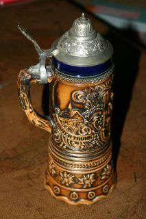 German Beer Stein w Pewter Lid Music Box Dr Schiwago Vtg L K