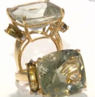 22 59ct Prasiolite Green Amethyst and Olive Quartz 10K Gold Ring Size