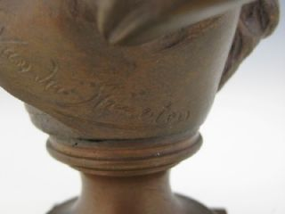 C1890 French Art Nouveau Cabinet Bronze Bust of A Pretty Woman by