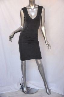 JAMES PERSE STANDARD Grey Sleeveless SIDE RUCHING Bodycon Jersey Dress