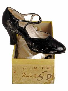 Vintage Black Mary Jane Patent Leather Shoes 1920 6.5D