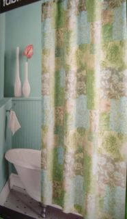 Meadow Green Blue Taupe JC Penney Fabric Shower Curtain