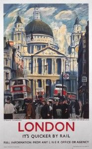 London St Pauls Cathedral Railway Travel Poster Print