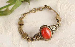 Orange Terrain Jasper Gemstone Antique Gold GP Vintage St Bracelet